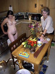 Mom and Dau in Kitchen