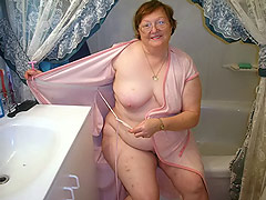 bathing naked granny