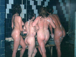 Funny Nudists in Sauna