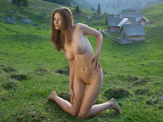 Nudist in Mountains